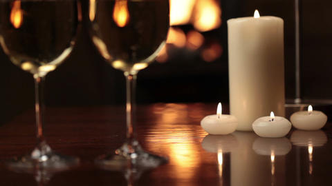 Glasses Of Champagne Near Fireplace stock footage