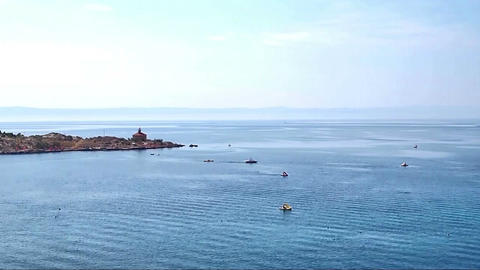 Traffic on sea near lighthouse time lapse Footage
