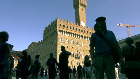 Tourists Visiting Palazzo Vecchio In Florence stock footage