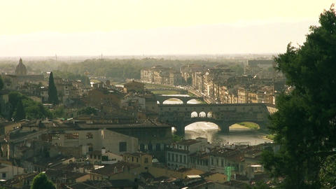 The Ponte Vecchio And Skyline Of Florence, Italy stock footage