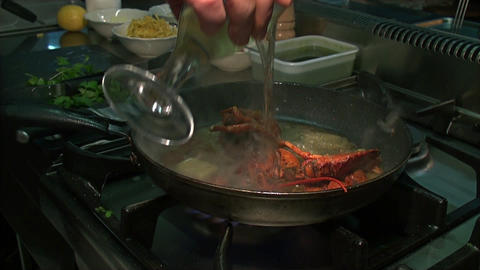 Rapid Preparation Of Food In The Frying Pan On The stock footage