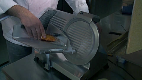Meat Slicing Machine stock footage