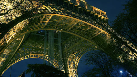 The Eiffel tower in the evening, Paris, France Footage