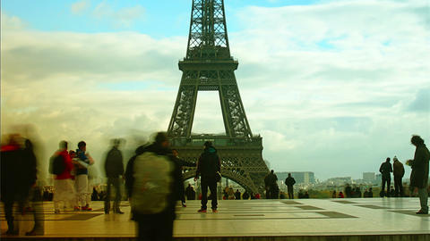 Tourist In Front Of The The Eiffel Tower - View Fr stock footage