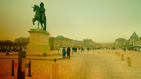 Equestrian Statue Of Louis XIV Outside Versailles  stock footage