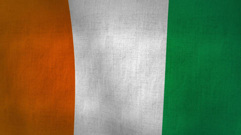 Cote D Ivoire Flag Background Textured (Loop-able) Animation