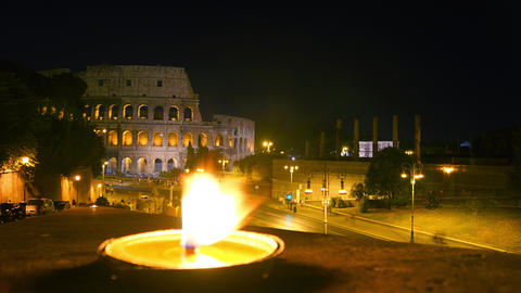 Traffic and rush hour of the Colosseum at night, t Footage