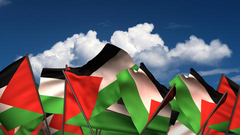 Waving Palestinian Flags Animation