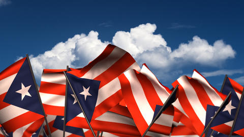 Waving Puerto Rican Flags Animation