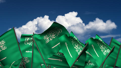 Waving Saudi Arabian Flags Animation
