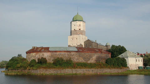 old sweden castle on island in vyborg russia Footage