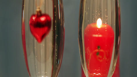 valentines day - heart and candle in glasses with  Footage