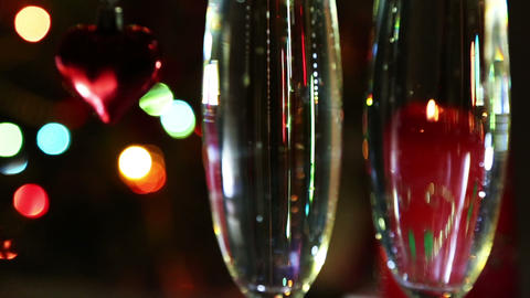 valentines day - heart and glasses with champagne  Footage