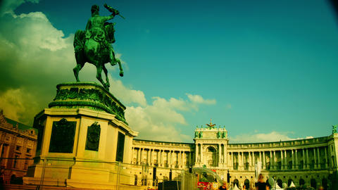 Heldenplatz Vienna with library and museum in the Footage