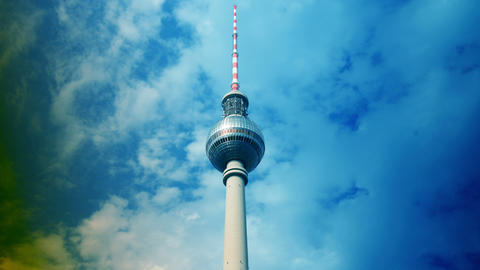 Television Tower located at Alexanderplatz in Berl Footage