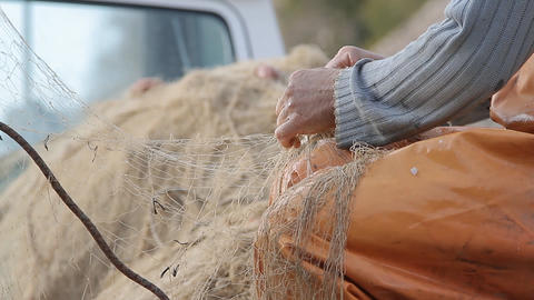 Fisherman Preparing Net stock footage