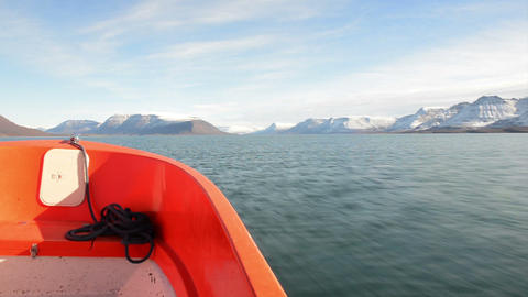 On A Dinghy In Greenland stock footage