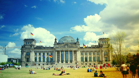 Reichstag with tourists visiting and walking aroun Footage