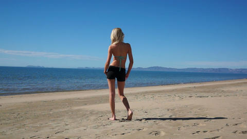 Woman Beach Shorts Full Back stock footage