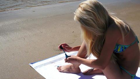 Woman Bikini Beach Nail Polish Footage