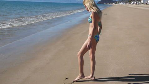 Girl Bikini Beach Heart Footage