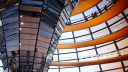People Move Inside The Cupola Of The Reichstag stock footage