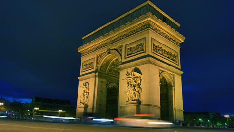 Arc De Triomphe In Paris,France At Night stock footage