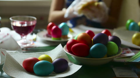 Coloring easter eggs Footage