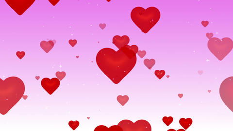 Flying Red Hearts. (loop) stock footage