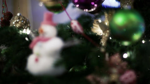 Christmas toys on the tree Footage