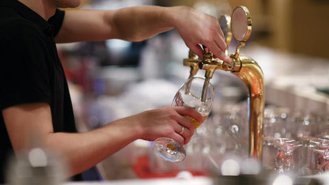 Draft beer pouring Footage