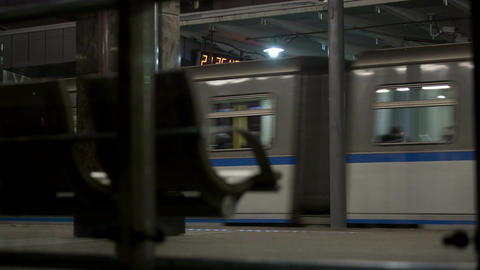 Train leaving metro station in Moscow Footage