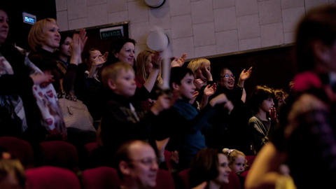 People Applauding In The Theatre stock footage