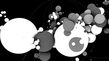 Black&White sci-fi color balls,music background,tech digital geometry partic Animation