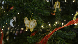 Butterfly Christmas Ornaments on a Christmas Tree Footage