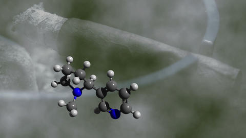 nicotine molecule rotating with glimmering cigar i Live Action