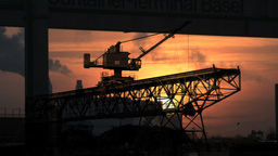 Industry Business. Crane Silhouette. Sunset Dusk stock footage