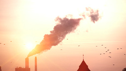Smog Pollution Smoke Steam. Silhouette. Sunset stock footage
