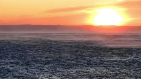 View at sunset with strong wind Footage