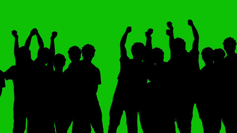 Silhouettes of people on a green background Animación