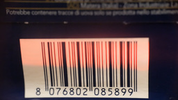 Barcode reading on flour pack macro Footage