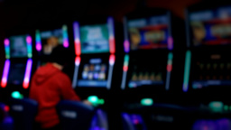 Slot machines videopoker man playing Footage