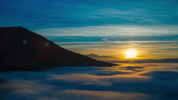 4K sunset timelapse of mountain heights and fog Footage