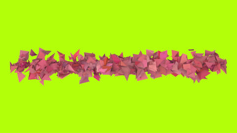 3d abstract red pink spiked shape on green Animation