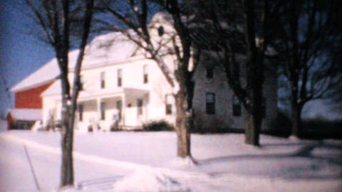 Big White Farm House In Winter 1964 Vintage 8mm stock footage