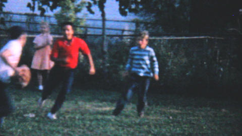 Kids Playing Football In Backyard 1962 Vintage 8mm Footage