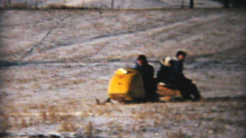 Snowmobile On Farmers Field 1964 Vintage 8mm film Live Action