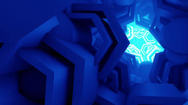 Blue Geometry flying in sci-fi pipeline tunnel,Space Station science technology Animation