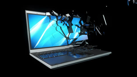 Breaking into pieces laptop computer Animation