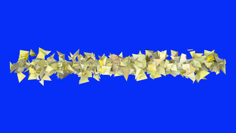 3d abstract yellow spiked shape on blue Animation